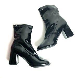 Funtasma 8M Shiny Black Faux Leather GOGO booties